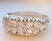 SALE SALE Diamond Engagement Ring, Wedding Band or Stacking Band. 12 Brilliant Diamonds. 18ct White Gold. Wedding Set. Vintage Style.
