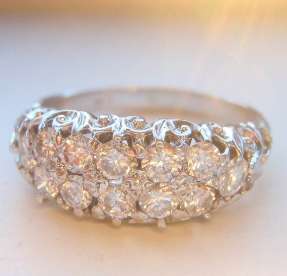Reserved for Jane - Vintage Diamond Engagement Ring, Wedding Band or Stacking Band, .78 Carats of Brilliant Cut Diamonds. 18K White Gold.