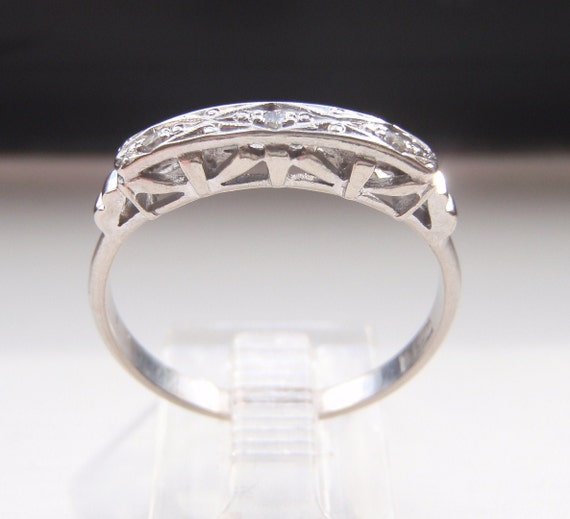 Art Deco Engagement Ring or Wedding Band. Diamond and Quality Solid 18K White Gold. Lovely Stacking or Eternity Ring.