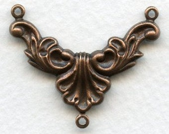 Beautiful Rococo Style Necklace Component -  3-Way Focal Connector - Ox Copper Plated Brass 34/27 BC13