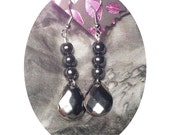 Hematite Teardrop Dangle Earrings