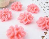 6 pcs 15mm Flower Bouquet Cabochon Bubblegum Pink FL008-PK