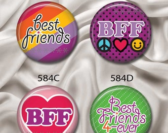 "BFF Best Friends Forever - Interchangeable Magnetic Design Inserts - FIT Clique and Magnabilities 1"" Jewelry Bases...584"