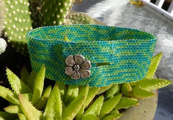 Peyote stitch Japanese delica seed bead brace ...