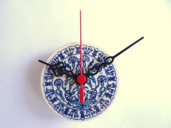 Mini Wall Clock 2012 design Turkish Ceramic Tile with blue carnation flower Anatolian patterns