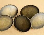 6 pc. Oval Antique Bronze Ring Bezel Setting with Lace Edge, 30mm by 40mm | FI-042