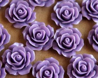 20 pc. Lavender Crisp Petal Rose Cabochons 18mm | RES-299