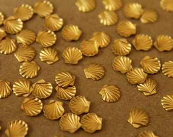 12 pc. Tiny Raw Brass Seashells: 6mm by 6mm - made in USA   RB-023