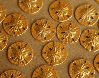 10 pc. Tiny Raw Brass Sand Dollars: 11mm by 11mm - made in USA | RB-024