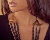 Diwana Lava Rock Triangle Necklace