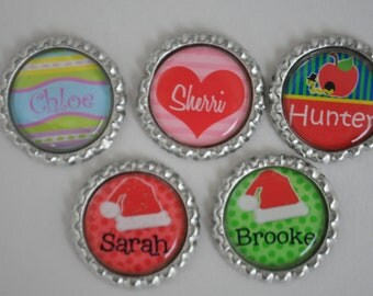 5 Personalized finished Holiday bottlecaps, For hairbows, jewelry, magnets, scrapbooks-SET of 5-- Christmas, Easter, Valentine,BTS