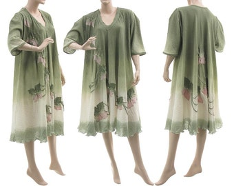 Boho hand dyed cotton dress in green, summer party dress in green pink, OOAK art to wear green dress plus size women xL-xxxL, US size 18-26