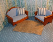 Rehabbed Vintage Dollhouse Furniture - Loveseat and Armchair