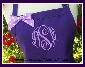 Monogrammed Purple Apron - Personalized Dark Purple Aprons Monogram Apron Gift Bride's Aprons Lavender Orchid Aprons with Ribbon Bows Bakers