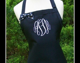 Black and White Gourmet Monogrammed Apron - Personalized Chefs Gift Idea Polka Dotted Ribbon Bakers Cooking Womens Wedding Bridal bridemaids