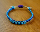 SALE Mon Amie Bracelet - Turquoise/Purple/Friendship Bracelet/Leather/Braided/Simple/Adjustable