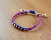 SALE Mon Amie Bracelet - Red/Blue/Brass/Friendship Bracelet/Leather/Braided/Simple/Adjustable