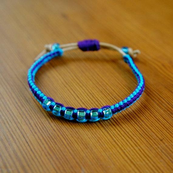 SALE Mon Amie Bracelet - Turquoise/Purple/Friendship Bracelet/Leather/Braided/Simple/Adjustable