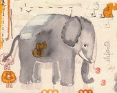 Elephant print small size, grey, yellow, red