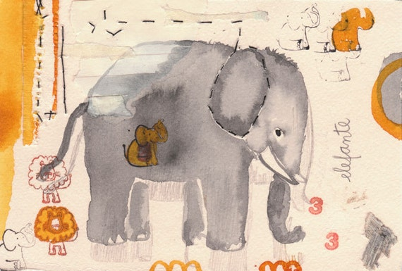 Elephant printable large size grey yellow red instant download
