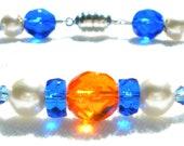 School Colors Orange and Blue Swarovski Pearl and Crystal Bracelet