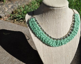 crocheted necklace in sea foam
