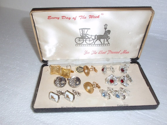 Every Day of The Week 7 Pairs of Cufflinks Includes 1 Cultured Pearl Set Hardly Worn if Ever