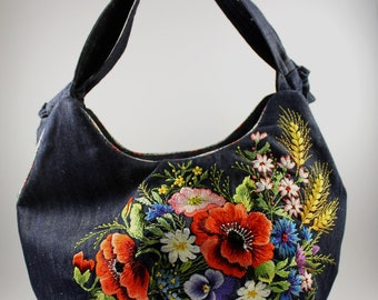 Hand embroidered jeans bag with flowers
