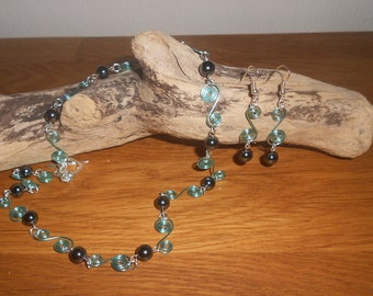 Beautiful Aqua Spirals and Hematite Gemstone Beads Necklace and Earrings Set
