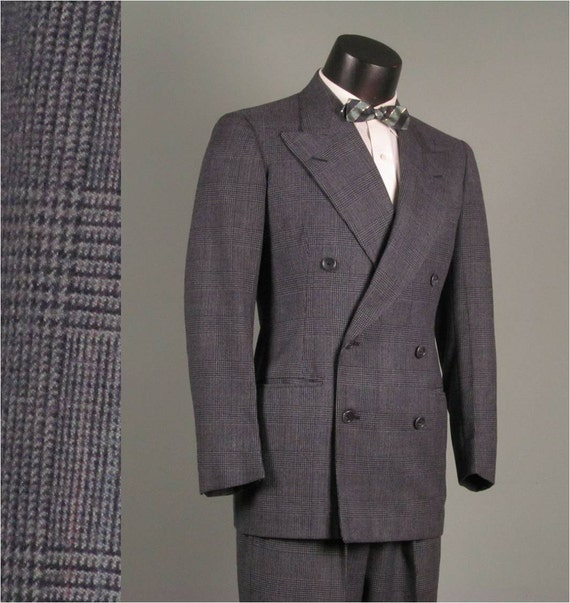 Vintage Mens Suit 1940s Blue Plaid Double Breasted Wool 2 Two