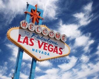 Welcome to Las Vegas, Famous Las Vegas Sign Las Vegas Strip, fine art photography, landscape, clouds, 8x10, home decor,