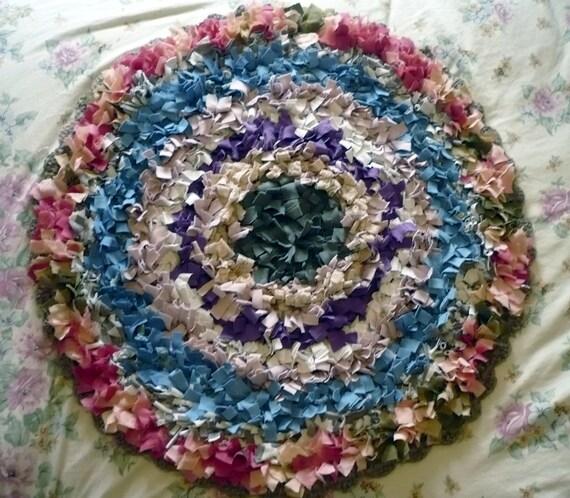 Unusual Rag Rug Mat Crocheted Jute Base. Upcycled T-shirts