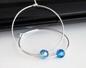 Silver hoop earrings, Swarovski capri blue earrings, simple everyday jewelry
