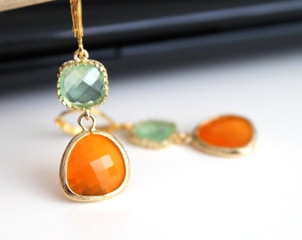 Orange spring green crystal earrings, tangerine green glass earrings, long dangle earrings,  bridesmaid gifts. Wedding jewelry