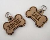 Wooden Pet ID Tags - Custom Dog Bone Collar Charm Laser Cut