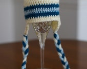 Crocheted Blue Striped Hat with Ear Flaps and Tassles- Photo Prop