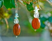 Koa Wood Earrings- Beaded Earrings with Turquoise Glass