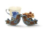 Gingerbread larks Stud Earrings - Small Ear Studs - Earrings Post - Food Jewelry