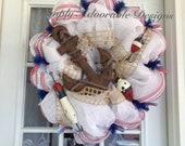 Stunning nautical theme deco mesh wreath design