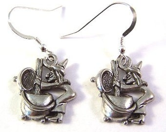 Pewter Witch Charms on Sterling Silver Ear Wire Dangle Earrings - Free Shipping in the US - (5211)