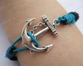 Bracelet-Black cotton rope bracelet,anchor bracelet-Z249