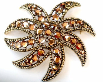 Weiss Swarovski Brooch Crystal Flower Vintage Signed High Fashion Collectible Jewelry Pin Signed Beauty Weiss Crystal Flower Pin