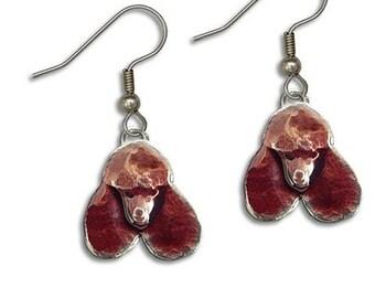 Enamel Chocolate Poodle Earrings