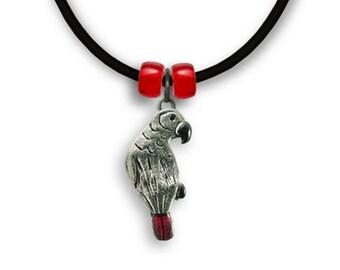 Enamel Afr Grey Parrot Necklace
