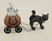 Halloween Decoration Pumpkin Cart with Ghost and Black Cat-10% Animal Rescue