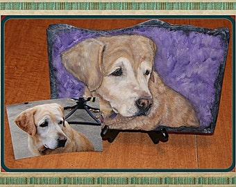 Custom Painted Pet Portrait in Acrylics on Slate OOAK Painting, Part of Sales Proceeds Supports Animal Charity