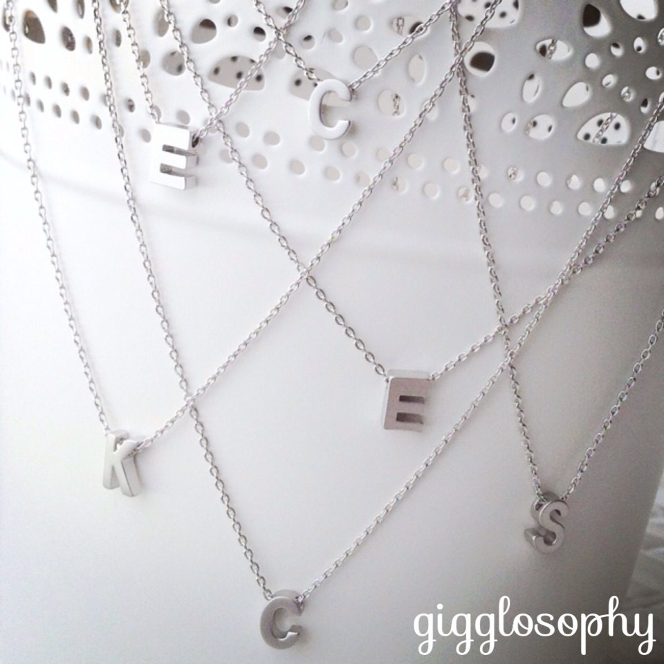 silver chain necklace featuring a letter of your choice //