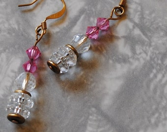 Pink and crystal ball earrings*