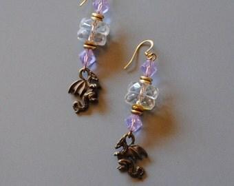 Jumbo rondelle dragon earrings