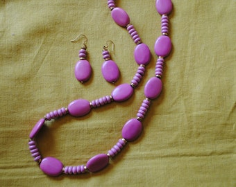Pink chalk turquoise necklace and earrings (#1)